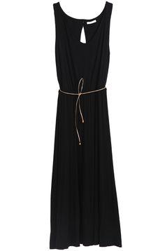 simple black dress.