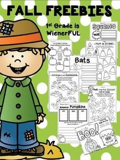 """Enjoy these FREEBIES for Fall!!!  These freebies are great for 1st-2nd graders (and maybe even some kinders).Fall is my FAVORITE SEASON!  This is a """"HAPPY FALL Y'ALL"""" present from me to you!  ENJOY! Pick and choose the freebie that fits the needs of your students!!!These pages are samples of some of my Fall Packets!Pages 4-5 FREEBIES!Pages 6-7:  Fabulous Fall PrintablesPage 8:  Bats Mini UnitPage 9:  Color by Sight Words~ OctoberPages 10:  September Writing ActivitiesPage 11:  Apples & Jo..."""