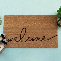Welcome Mat - Personalized Doormat - Custom Doormat Funny Welcome Mat, Welcome Mats, Cool Doormats, Couple Room, Personalized Door Mats, Silhouette Projects, Home Crafts, Etsy, Condo