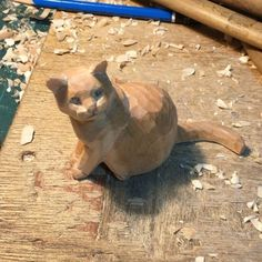 Wood Carving Art, Wood Art, Awesome Woodworking Ideas, Pottery Animals, Wood Animal, Whittling, Wood Sculpture, Cat Art, My Drawings