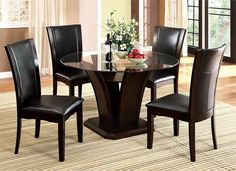 Casual Yet Modern. Manhattan Round Glass Dining Table with Chairs #Modern
