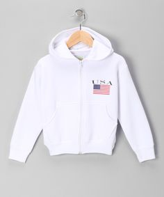 Loving this White 'USA' Zip-Up Hoodie - Infant, Toddler & Kids on #zulily! #zulilyfinds