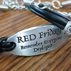 Leather Military Bracelet (RED Friday)  RED Friday - Remember Everyone Deployed - On Sale Now $12.00