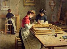 Interior of a frame gilding workshop, Louis-Emile Adan. French (1839 - 1937)