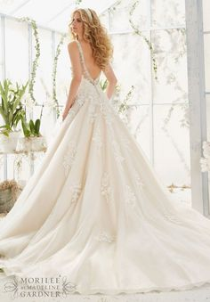 Mori Lee 2811 Tank Drop Waist Lace Ball Gown Sample Sale Wedding Dress