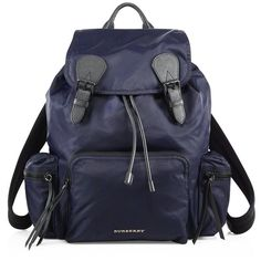 Burberry Calf Leather Trimmed Large Rucksack ($1,310) ❤ liked on Polyvore featuring men's fashion, men's bags, men's backpacks, apparel & accessories, ink blue and burberry