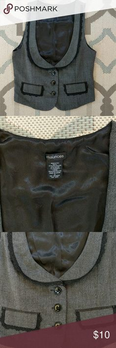 Maurices Grey Fitted Vest with Lace Detail Size small fitted vest with lace detail and three button closure. Good used condition. Maurices Jackets & Coats Vests
