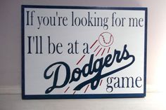 Custom Painted Dodgers Baseball Sign by KreationswithaK on Etsy, $22.50
