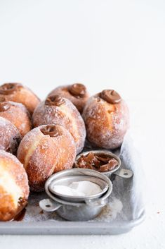 Fluffy brioche doughnuts are rolled in sugar, then filled with a silky salted caramel and milk chocolate ganache. These are the ultimate treat - the rich chocolate ganache is a total game changer. Donut Recipes, Baking Recipes, Dessert Recipes, Cookie Recipes, Brioche Donuts, Donut Filling, Milk Chocolate Ganache, Cake Chocolate, Chocolate Brioche