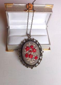 Long Pendant Necklace Statement Necklace Unique by RedWorkStitches