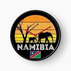 African Bush Elephant, Quartz Clock Mechanism, Hand Coloring, South Africa, Safari, Sunset, Prints, Sunsets, African Elephant