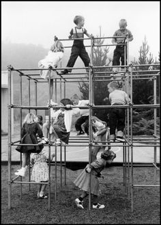 Playing on the Monkey Bars By Wayne Miller.I loved to play on the Monkey Bars at Buckman Grade School in Portland Oregon. The Monkey Bars didn't have any padding under them and were removed and replaced with a safe jungle gym system in the My Childhood Memories, Best Memories, 1970s Childhood, Wayne Miller, Karate Kid, Photo Vintage, Vintage Kids, Vintage School, Jungle Gym