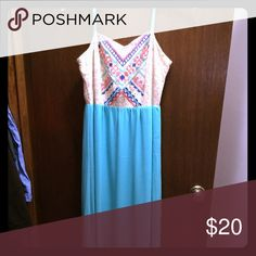 Long dress size M. Great Condition. Mint green bottom. Floor length. Cute design on top. Dresses