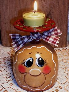 HP Gingerbread Wine Glass Candle Holder, Hand Painted