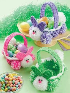 Crochet Easter baskets with bottom of Cola two liter bottle.