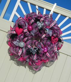 Valentine Deco Mesh Wreath Pink Silver Black by WhatsOnYourDoor, $85.00