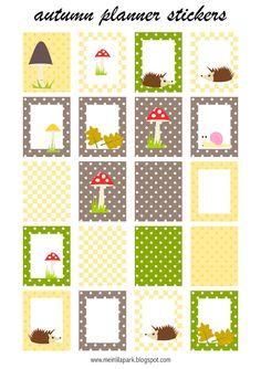 Free printable autumn planner stickers - yellow, mushroom, brown, toadstool, stickers ausdruckbare Etiketten - freebie…