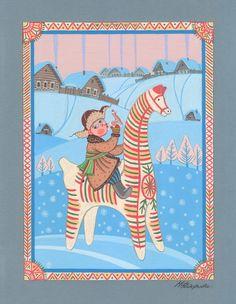 Просмотреть иллюстрацию Утро в Филимоново из сообщества русскоязычных художников автора Марина Федорова  в стилях: Декоративный, Детский, нарисованная техниками: Гуашь.