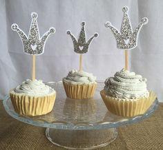 crown cupcake topper crown cupcake crown cutouts gold by FalcoClan