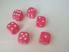 6 Pcs 16mm casino acrylic dice Game toy Pink plastic round corner craps P154p