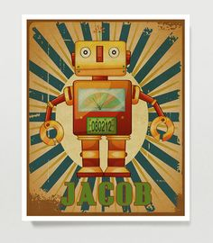 Retro Robot Art, Personalized Kids Wall Art - Robot Nursery - 16x20