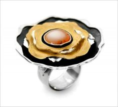 Ring by Jan Pomianowski .Silver 925, partially gold plated, Mexican opal. www.pomianowski.com/