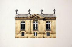Archives Pavilion at St-Cyr / Michael Hampton / watercolor on paper / Art Size: 14 x 10; Frame Size: 24 x 20