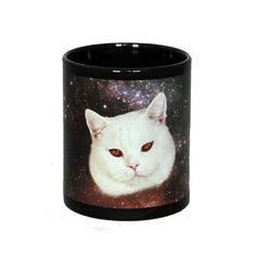 It's like it the devil were a cat and was tripping on acid.  Black classic mug with space cat print. €13.00, via Etsy.