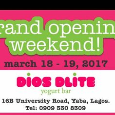 It's official..... Diosdlite flagship store is opening and we are more than excited.   All our walk in customers who buy any cup of fresh or even frozen yogurt would get another cup absolutely FREE!!!!!! Between 1pm- 4pm only.  #froyo #parfait #fibre #diosdlite #yogurt #indulgence #guiltfree #treats #grand opening #yaba #events #march