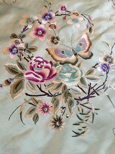 "Antique Silk Hand Embroidered Piano Shawl Multi Color Work Pure Silk 28""By 28"" | eBay"