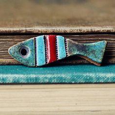 Funky Fish- handmade ceramic pendant