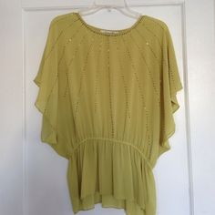 NEW green beaded loose Flowy top Brand new! Size small Tops Blouses