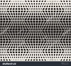 Vector Seamless Black And White Retro Line Grid Pattern. Abstract Geometric Background Design