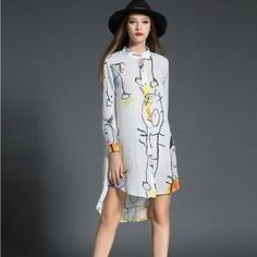 New 2017 Ladies Loose Long Shirt Dress Coll Colors Big  Print White Dress - SilkRoads Online