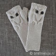 Polswarmers met uil breien - gratis patroon   Breimeisje.nl