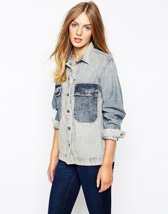 Mih Jeans Oversized Denim Shirt Jacket With Contrast Pocket Detail