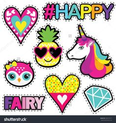 Set of cute stickers with hearts,pineapple, owl, unicorn, diamond and hashtags elements HAPPY, FAIRI. Girlish stickers in bright colors isolated on white background. Fashion patch in cartoon style.