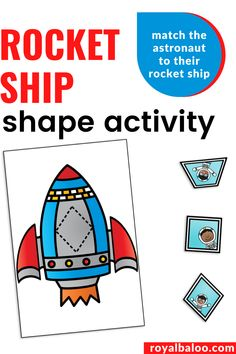 Play with shapes with this fun space shape activity! Match the astronaut to his rocket ship. Shape Worksheets For Preschool, Printable Activities For Kids, Preschool Learning Activities, Free Preschool, Hands On Activities, Shape Activities, Preschool Printables, Shapes For Kids, Math For Kids
