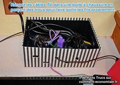 ranger vos cables électriques et multiprises dans une boite à chaussure pour les cacher