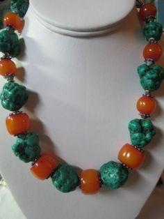 Vintage Chunky Large Green Turquoise and Amber Beaded Necklace Stylish Tribal   eBay