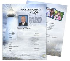 Memorial Flyer Sheet Template Designs: Lighthouse One Page Funeral Flyer Template