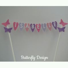 Handmade Personalised Cake Topper - Birthday/Christening - Butterflies & Bunting in Crafts, Cake Decorating | eBay