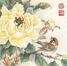 """My Peony Garden"" - Original Fine Art for Sale - © Jinghua Gao Dalia Peony Drawing, Peony Painting, Silk Painting, Botanical Art, Botanical Illustration, Illustration Art, Chinese Painting, Chinese Art, Poster Mural"