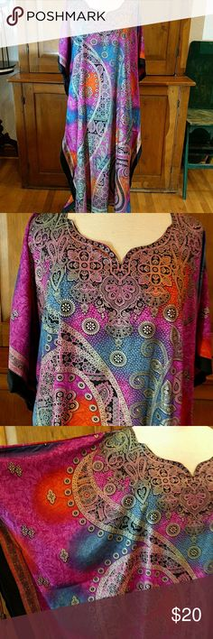Celestial Caftan This is a stunning Caftan in the most beautiful colors and design! Full length, kimono sleeves and a very flattering neckline. The back is as beautiful as the front!    Any occasion, any place - Caftans are perfect! Made in India Sante Classics Dresses Maxi