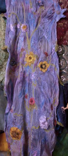 Margo Duke Fiber Artist, using felt and silks she designs with natural dyes