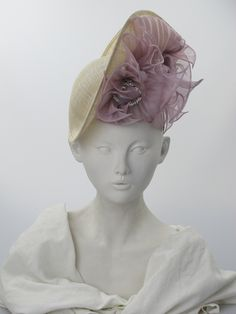 Philip Treacy. Natural/pale purple sinamay tilted hat. Summer wear. Free size. - Hatwoman