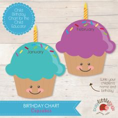 Cupcake Birthday Chart for Child Educators by BUSYLITTLEBUGSshop, $6.95