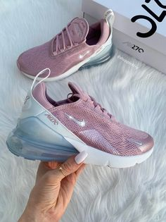 Swarovski Nike Air Max 270 Shoes Blinged Out With Swarovski Crystals Bling Nike Shoes Mauve Schuhe Bling Nike Shoes, Cute Nike Shoes, Cute Sneakers, Shoes Sneakers, Women's Shoes, Sneakers Women, Shoes Style, Black Shoes, Sneakers Fashion Outfits