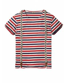 Striped crew neck tee with braces - T-shirts - Official Scotch & Soda Online Fashion & Apparel Shops