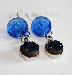 Vintage Cobalt Blue Glass Button & Quartz Earrings - Boho Chic - Dangle Dearrings - OOAK